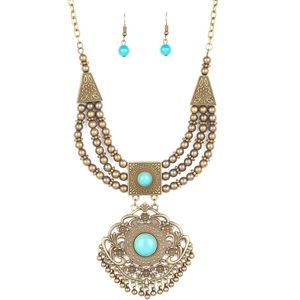 Santa Fe Solstice Brass Blue Necklace Earring Set